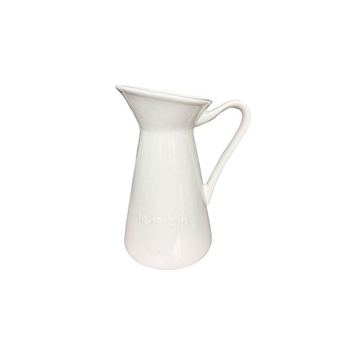 Ins French Style White Elegant Carved Olive Words Pattern with Cute Round Spout Ceramic Coffee Milk Creamer Serving Sauce Porcelain Pitcher Cup Jug Vase with Handle for Kitchen Home Decor Gift