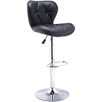 Beau COSTWAY Modern Adjustable Synthetic Leather Swivel Bar Stools Chairs Bistro Pub  Chair Black