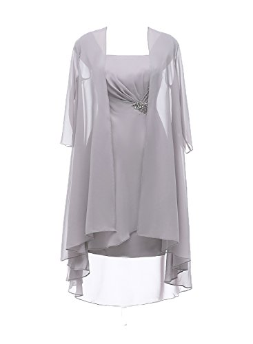 Ruiyuhong Two Piece Mother Of The Bride Dresses With Jacket Half Sleeves (14 Silver)
