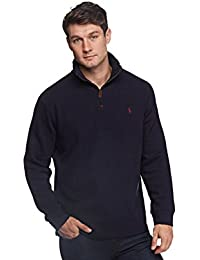 Mens Half Zip French Rib Cotton Sweater Large Hunter Navy