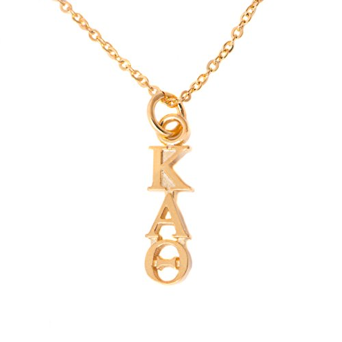 Desert Cactus Kappa Alpha Theta Sorority 24k Gold Plated Lavalier Letter Necklace with Chain (Alpha Merchandise)