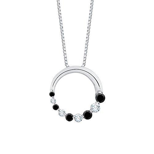 Journey Circle Birthstone Pendant - Black and Diamond