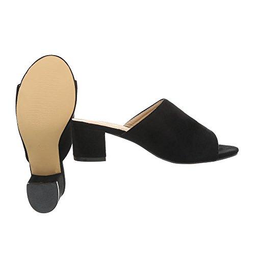 Ital-Design Chaussures Femme Sandales Kitten-Heel Mules Noir Od-47 FCZSJt
