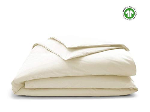 Duvet Cover 350 Thread Count from Premium Organic Cotton for Non Toxic and Healthy Sleep, King Ivory [GOTS Certified] - Decorative Comforter Protector Cover - Sateen Weave Finish - Made in India