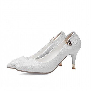 Talones de las mujeres del resorte de la caída Confort de cuero para oficina y del partido de la carrera y del vestido de noche del tacón de aguja azul blanco rosado White