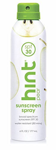 Hint Sunscreen, SPF 30, 6 fl oz, Oxybenzone Free, Paraben Free (Pear), Broad Spectrum SPF 30 Compressed Air Spray-On Sunscreen, Water Resistant, Pear (Pear Essence)