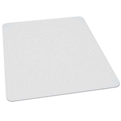 ES Robbins EverLife 46-Inch by 60-Inch Professional Series Medium Pile Carpet Anchor Bar Rectangle Vinyl Chair Mat, Clear Rectangle Mat