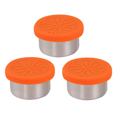 kilofly 3-Piece BPA Free Leak Proof Reusable Round Eco to Go Stainless Steel Food Storage Container with Silicone Lid for Dip Condiment Salad Dressing Meal Prep Snack Baby Kid Lunch, 1.7-Ounce Orange