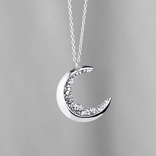Crescent Moon Necklace Silver Diamond Necklace MignonandMignon Mothers Day Gift for Her Celestial Jewelry - ZCMN (Diamond Necklace Moon)