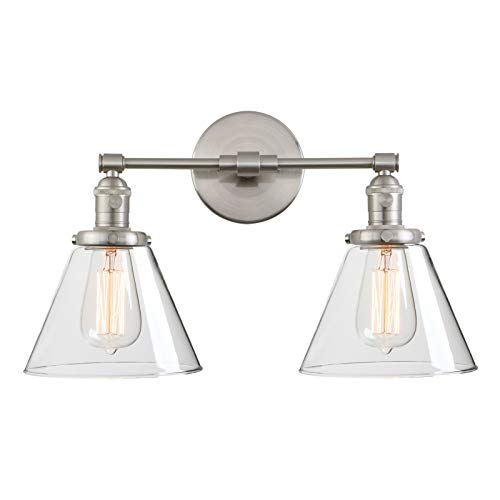Phansthy Double Sconce Light Industrial Wall Light with Dual 7.3 Inch Cone Clear Glass Lampshade(Brushed)