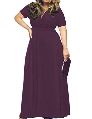 HWOKEFEIYU Women's V-Neckline Stretchy Casual Plus Size Bridesmaid Dress(Purple,XL)