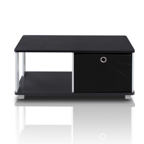 Furinno 99954BK/BK Coffee Table with Bin Drawer, Black & White - Trendy Glass Top Coffee Table