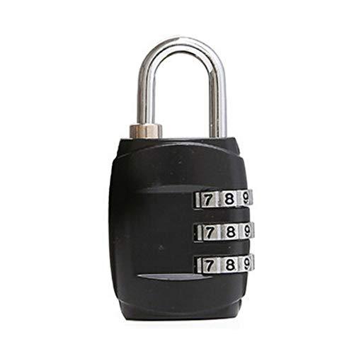 Mini 3 Digits Travel Luggage Suitcase Metal Coded Lock,Black,A ()