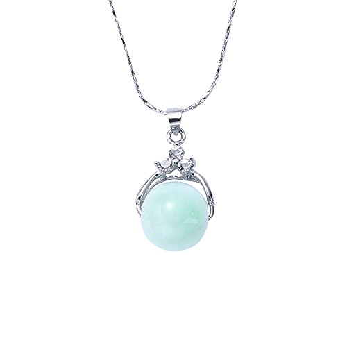 FREE BEE 14K White gold Natural green jade pendant, can rotate jade to bring good (Green Jade Gemstone Necklace)