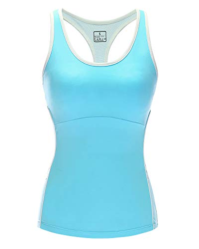 Women Stretch Tank Tops Built-in Shelf Bra, Lightweight Yoga Camisole Vest for Workout Gym Fitness (Blue, S)