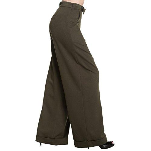 Verde Largo Alta Vintage Cintura Oscuro Estilo Retro Pantalón Mujer Swing 1940s Pantalones Ancha Pernera qpFFP76W