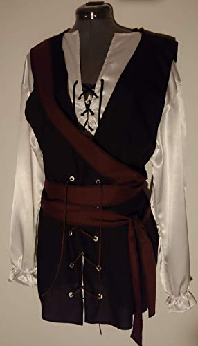 mens adult medium/large light weight black and brown cotton polyester SCA renaissance pirate vest and 138'' extra long brown wrap sash costume costumes (chest 42'') by Era Costumes