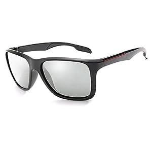 Photochromic Sunglasses Men Women HD Polarized Sports Cycling Glasses By Long Keeper (Grey)