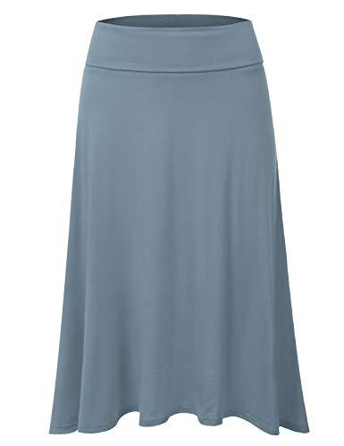 Elastic Waist Woven Skirt (DRESSIS Women's Basic Elastic Waist Band Flared Midi Skirt DENIMBLUE L)
