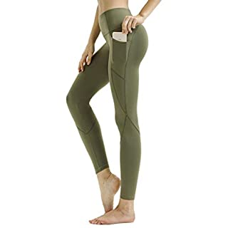 Persit Workout Leggings for Women with Pockets, Yoga Pants for Women High Waisted Athletic Gym Sport Yoga Leggings - Army Green - M