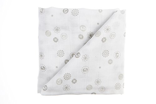 BABY SENSE Silky Soft Bamboo Receiving Muslin Blanket | Stretchy & Safe 100% Premium Cotton + Breathable Light Fabrics For Sleep, Stroller Cover, Warmth, Feeding, CALMING (Handmade Baby Receiving Blanket)