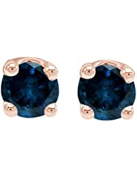 IGI Certified 0.25 Carat (Ctw) Round Natural Blue Diamond Stud Earrings 14k Solid Gold (1/4 Cttw)