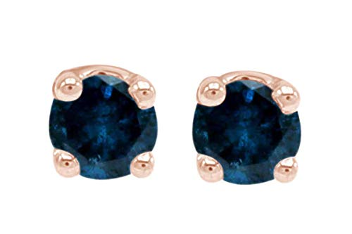 Mothers Day Jewelry Gifts IGI Certified 0.25 Carat (Ctw) Round Natural Blue Diamond Stud Earrings 14k Rose Gold (1/4 Cttw) ()