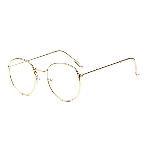 XWDA Super Oversized Round Circle Frame Clear Lens Glasses (gold, - Thin Glasses Wire Rim