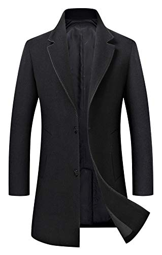 Men's Trench Coat Wool Blend Slim Fit Jacket Single Breasted Business Top Coat 18577 Black M