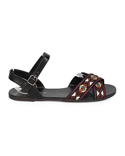 Breckelles Ed56 Sandalo Da Donna Con Cinturino Alla Caviglia In Peep Toe Criss Cross - Nero