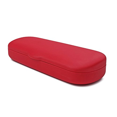 MyEyeglassCase Hard Eyeglass & Reading Glasses Case w/ Microfiber Cleaning Cloth   Protects Medium/Long Sized Frames   Trendy Red Finish   AS144 Selected - Glasses Cases Trendy