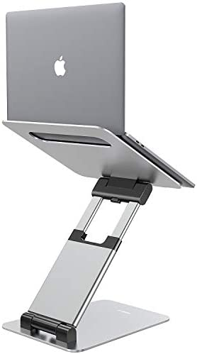 "Nulaxy Laptop Stand, Ergonomic Sit to Stand Laptop Holder Convertor, Adjustable Height from 2.1"" to 13.8"", Supports as much as 22lbs, Compatible with MacBook, All Laptops Tablets 11-17"" - Silver"