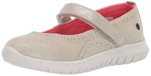 Hush Puppies Girls' Flote Tricia MJ Mary Jane Flat Champagne 010 Wide US Little Kid