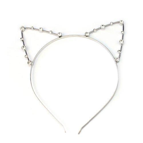 Katzenohren Haarreif Ohren Kostüm Haar Reif Haarband Spange Katze Strass Schmuck