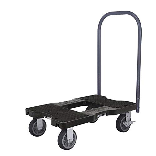 SNAP-LOC ALL-TERRAIN PUSH CART DOLLY BLACK with 1500 pounds Capacity, Steel Frame, 6 inch Casters, Push Bar and optional E-Strap Attachment