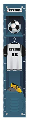 Sports Growth Chart Soccer Locker Custom Name Gifts for Kids Room Decor Personalized Growth Chart ()