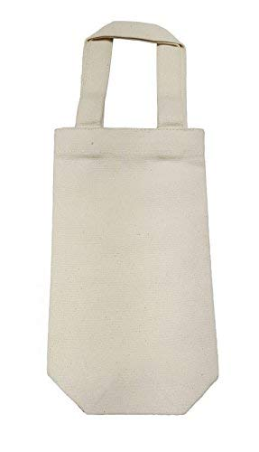 Set of 12 - Canvas Wine Bag Off White - 11.5x6.5x3