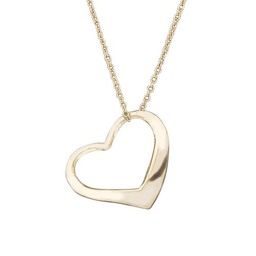 14k Gold Girls Small Floating Heart Children's Necklace 15