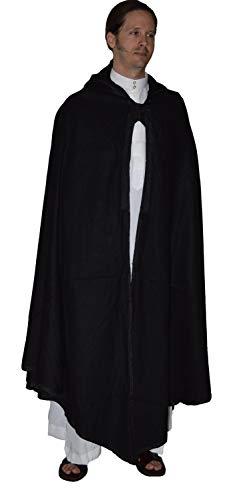- Moroccan Men Poncho Hooded Cape Wool Cardigan Open Front Elegant Wrap Black