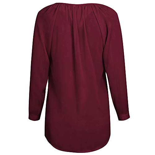 V Shirt Casual Longues Hauts Col Chemisier Femme Chemise Rouge T Boutons Manches Rayure Automne Cw0q5IP1n