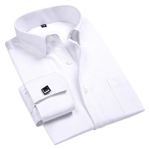 Cloudstyle Men's Dress Shirt Slim Fit Button Down Stripe Checked Shirt White from Cloudstyle