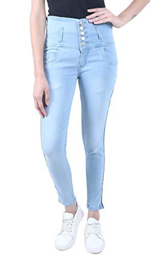 Amyka Women high Waist Jeans Light Blue