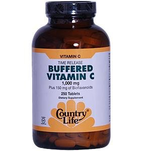 Time Release Country Life Buffered Vitamin C 1000 mg et 150 mg de bioflavonoïdes, 250-Comte