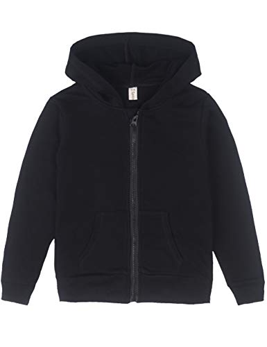 Spring&Gege Youth Solid Full Zipper Hoodies Soft Kids Hooded Sweatshirt for Boys and Girls Size 11-12 Years Black by Spring&Gege
