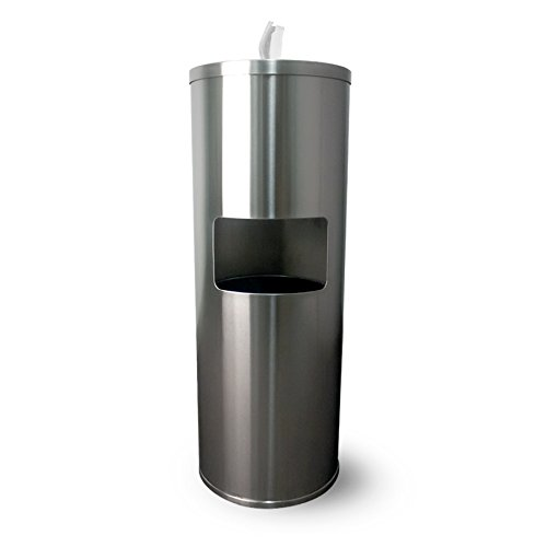 Floor Stand Gym Wipe Dispenser, Stainless Steel Wipe Dispenser with High Capacity Built-in Trash Can and Back Door Access by Zogics