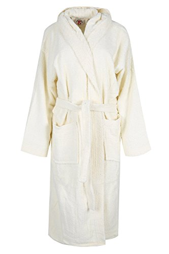 Sunshine Linens Luxury Men & Women Hooded Bath Robe Terry Towelling 100% Cotton Highly Absorbent (Cream, Large/X-Large)