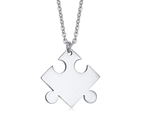 XUANPAI Minimalist Tiny Stainless Steel Sliver Puzzle Piece Necklace for Women Grils Sister Matching