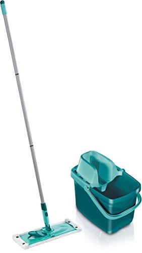 Leifheit 55356 Set Combi Clean inkl. Eimer mit Presse und Bodenwischer mit Micro Duo Bezug, Classic Green