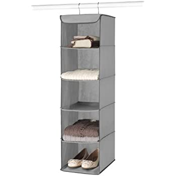 whitmor hanging 5 section accessory shelves grey