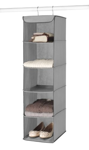 Closet Sweater Organizer (Whitmor 5 Section Closet Organizer - Hanging Shelves with Sturdy Metal Frame)